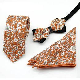 matching ties set 2019 - Ikepeibao Orange Cotton Floral Paisley Ties with Matching Bowtie Hanky for Men Wedding Tie Slim Gravatas Corbatas Casual