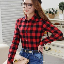 7cc698b919d8ac Wholesale- 2017 Spring New Fashion Casual Lapel Plus Size Blouses women  plaid shirt Checks Flannel Shirts Female Long Sleeve Tops Blouse