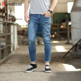 2796940f Wholesale-Ripped Hole Cotton Denim Slim Elastic Ankle-Length Pencil Pants  Jeans Men,2017 New Arrival Good Quality Men Jeans,17682K