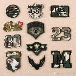 Embroidered Number Patches Australia - 20 pcs Military Number Letters Patches Embroidered Iron on For Clothes Army Epaulets patches irons Fabric Sticker DIY New Military Embroider