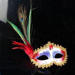 Elegant Ball Masks Australia - Party Masks 50pc halloween 6 Color Half Face Elegant Pheasant peacock Feather Venetian Masquerade mask Mardi Gras mask for ball party H43