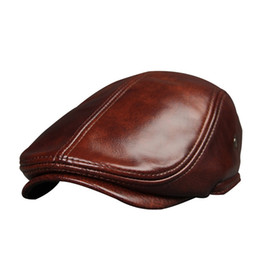 Male Genuine leather Hat Adult Cowhide Leather Hats Men s Ear Protection Cap  Male Winter Visor Caps New Year Gift B-7232 b490e08a46fc