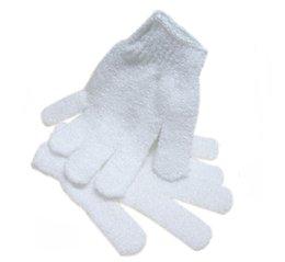 Guanto da bagno corpo in nylon bianco Guanto da bagno esfoliante Guanto scrubber per il corpo Guanto per il corpo Massaggio per la pelle