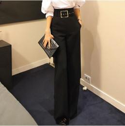31fb69b2763c Clobee Korean OL Style Formal Office Workwear Pants 2018 Spring Women  Elegant Retro Solid Black High Waist Wide Leg Pants HJ333