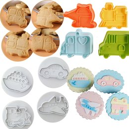 Discount plastic trucks - 8PCS Car Plane Boat Train & Engineering Truck Set Children Plastic Cookie Stamps Plunger Cutters Mold Bakeware Decorativ