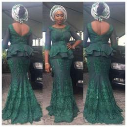 $enCountryForm.capitalKeyWord Australia - Modest African Mermaid Evening Dresses Gowns Dark Green Arabia Half Sleeve Lace Illusion Peplum 2018 Long Party Prom Dresses Robe De Soiree