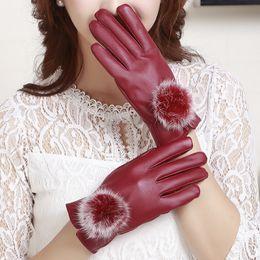 Leather Gloves For Men Australia - LANMREM 2018 PU Leather Glove Autumn Winter Faux Fur Ball Keep Warm Black Red Glove For Women Accessories YF063
