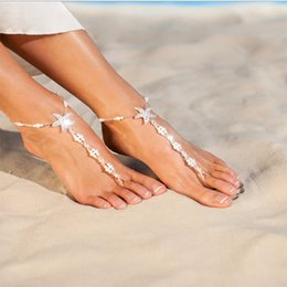 anklet feet girls NZ - Fashion Foot Chain Beach Feet Decor Ankle Diamond Drill Starfish Pearl Stretch Finger Chain Barefoot Sandal Anklet Chain Jewelry H177F