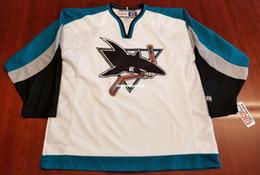 3982f58e658 Wholesale Custom San Jose Sharks Vintage CCM Cheap Hockey Jersey White New Mens  Retro Jerseys