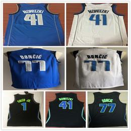 2018 Mens  1 Dennis Smith Jr.  41 Dirk Nowitzki City Jersey  77 Luka Doncic  White Blue Embroidery Logo Basketball Jerseys Mix Orders 2561e6d5f