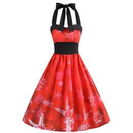 Abito di Natale Vestido 2018 Donne Sexy Halter Vintage Rosso Dress Casual  stampa floreale Pin Up Retro Rockabilly Swing Party Dresses e6252702b48
