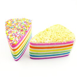 Stretchy toyS online shopping - Rainbow Color Stretchy Squishies Simulation Triangle Cake Squishy Jumbo Sweet Cream Cell Phone Charms For Party Gift sq BR