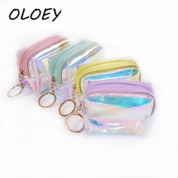 handbag clear plastic bag Canada - Laser PVC Coin Bags Women Jelly Transparent Zipper Clear Money Storage Handbag Plastic Shining Small Wallet Fashion Pouch#