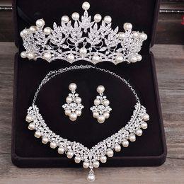 designing women costumes 2019 - whole saleBride Diaries Costume jewelery sets New Design Pearl Bride 3pcs Set Necklace Earrings Tiara Bridal Women Weddi
