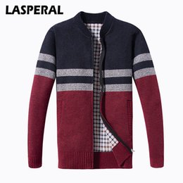 $enCountryForm.capitalKeyWord NZ - LASPERAL Autumn Men Jacket Fashion Striped Knitting Cardigan Sweater Male Winter Warm Zipper Streetwear Oversized Jacket 3XL