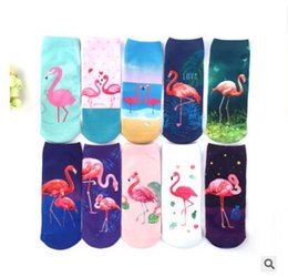 Discount funny christmas socks - 3D Flamingo Women Socks Girls Fashion Sock Unisex Christmas Socks Flamingo Cotton Female Funny Low Ankle Sock 12 Styles