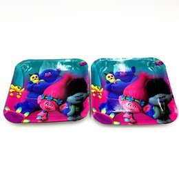 Wholesale 10pcs Trolls square plates square dishes kids birthday party supplies Trolls plates dish happy birthday party supplies