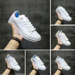 Waterproof casual shoes online shopping - 2018 Smith Casual shoes Cheap Raf Simons Stan Smiths Spring Copper White Pink Black Fashion Man Leather brand woman man shoes Flats Sneakers