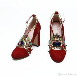 6d39e1e12b64 Chunky Mary Jane Shoes Australia - 2018 Brand New Designer Shoes Colored  Rhinestone Crown Mary Jane