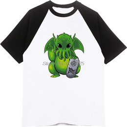 95a0a8524 New Fashion Funny Little Cthulhu Print T Shirt Men's Summer Raglan Sleeve  Cotton T Shirt Cartoon Casual Tees Tops Streetwear