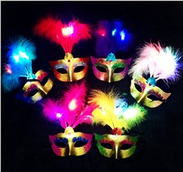 half face light up mask Australia - Masquerade Half-face Masks Led Light Feather Mask Halloween Venetian Dance Dress Up Party Mask Wholesale