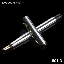 Metal Fines Australia - Baoer 801 Executive Golden and Silver Fine Nib tip Ink pen Stationery School Office birthday present Writing metal Fountain Pen
