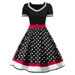 $enCountryForm.capitalKeyWord Canada - Wipalo S-2XL Polka Dot Print Vintage Dress Women Summer V-Neck Sleeveless A-lined Dress Sweetheart Pin Up 50s Party Dresses Belt