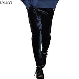 93f39ce4bf4 LXUNYI Casual Trousers Women Autumn New Wool Patchwork Pencil Pants Elastic High  Waist Feet Loose Velvet Pants 2018 Black Nayy