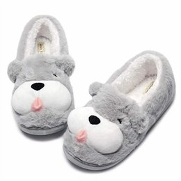 canvas dog shoes UK - Dog Cute Animal Girl Shoes Womens Fuzzy Warm Indoor Women Winter Slippers Plush Anti-Slip Home Slippers Femme Pantuflas