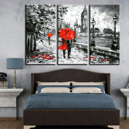 lovers rain painting Australia - Canvas Print Pictures Living Room 3 Pieces Red Umbrella Lover Painting London Street Rain View Poster Retro Home Decor Wall Art