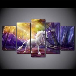 art canvas prints Australia - 5 Piece Canvas Art HD Print Home Decor White Horse Paintings For Living Room Wall Poster Picture Free Shipping UP-2313B