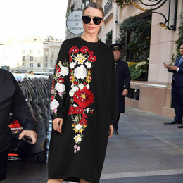 $enCountryForm.capitalKeyWord NZ - Miranda Kerr women winter autumn chinese style national flower embroidery black army green loose knee length midi dress 2017