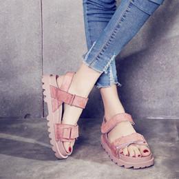 Thick Sole Sandals Australia - Classics Concise Summer Gladiator Women Sandals Gladiator Front Rear Strap Women Shoes Thick Soled Rome Sandals