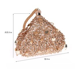 Cocktail Purses Canada - Champagne Beading Crystal Women Evening Bags Wedding Party Cocktail Handbags And Purses Bridal Rhinestone Small Day Clutches