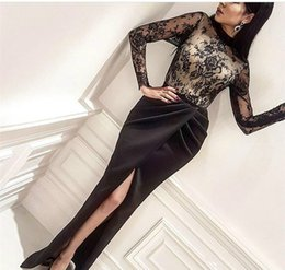 $enCountryForm.capitalKeyWord Australia - Sexy Lace Split Dubai Sheath Evening Dresses Gowns Long Sleeve African Arabia Plus Size 2018 Party Prom Dresses Formal Wear Robe De Soiree