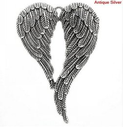 $enCountryForm.capitalKeyWord Australia - 10Pcs lot Vintage Silver Angel Wings Charms Metal Big Pendant For Jewelry Making 47*69mm