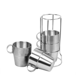 Vacuum frame online shopping - 4pcs Outdoor Picnic coffee Cups Stainless Steel Double layer Drinking Mugs vacuum Tea Coffee Cup Set With Frame