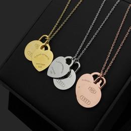 letter t pendants 2019 - 316L titanium steel T letter peach heart round double pendant ladies necklace 18K gold couple necklace jewelry chain len