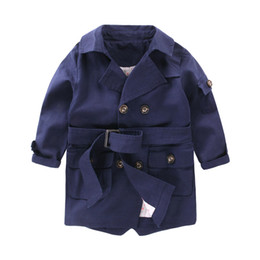 New Fashion trench coats for Boys Long Pattern Casual Boys Belted Trench Coat Child 2-6Y Autumn Spring Jacket Outerwear