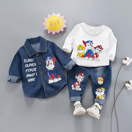 2bf6e201f294 New spring and autumn casual version of the 0-4 year old cartoon puppy  cowboy three-piece children s clothing