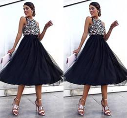 9fecd9cae919 Orange midi length dress online shopping - Fashion Black Tulle Sequin Prom  Dresses Jewel Neck Empire