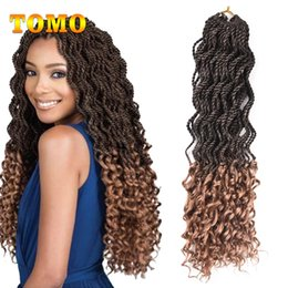 Discount curly ombre crochet hair - TOMO 18Inch Long Curly Senegale Twist Ombre Braiding Hair Curly Crochet Braids Hair Extensions For Woman 24 Roots pack