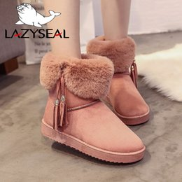 Discount russian snow boots - LazySeal Fringe Snow Boots For Woman Tassel Plush Winter Russian Faux Fur Boots Winter For Women Shoes Warm Botas Mujer