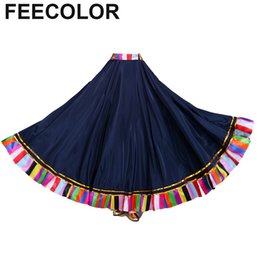 15c422bd69e FEECOLOR Women's Tribal Belly Dance Skirt ATS Voile Maxi Full Dress Bohemia  Gypsy Floral Flamenco dance wear 180-360 Degree
