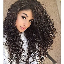 natural kinky human hair Canada - Discount Qingdao fashion 100% unprocessed remy virgin human hair long natural color kinky curly full lace cap wig for lady