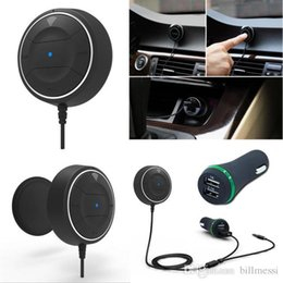 Discount dual audio car - NFC Bluetooth V4.0 Car Kit Audio AUX Receiver Hands-free Calling Dual USB Charger Built-in Microphone Wireless audio and