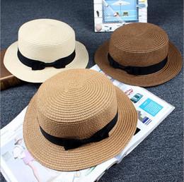 Guduo sun flat straw hat boater hat girls bow summer Hats For Women Beach  flat panama straw hat chapeau femme 14be921145a0