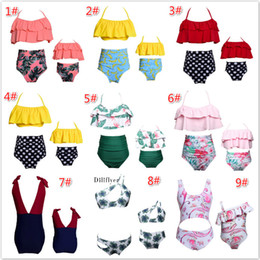Wholesale two high waisted swimwear for sale – plus size Family Matching Outfits Mother and Daughter Summer Swimsuit Kids Parent Striped High waisted Swimwear Beach Bikini Baby Girls Clothes Style