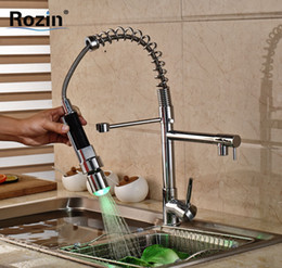 Kitchen Faucet Light Chrome Australia - Chrome LED Light Spring Kitchen Faucet Swivel Spout Single Handle Pull out Spray Sink Mixer Tap