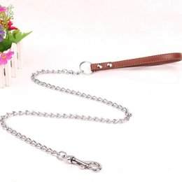 Wholesale PU Leather Handle With Iron Chain Dog Leash Anti Bite Metal Dog Chain Lead Pet Traction Rope for Dog Pet Leash ZA6361